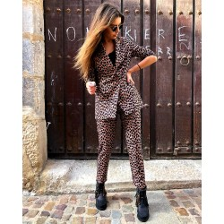 BROWN LEOPARD DINASTY TROUSERS